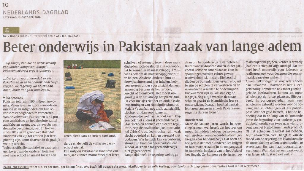 Artikel Nederlands Dagblad Pakistan scholen